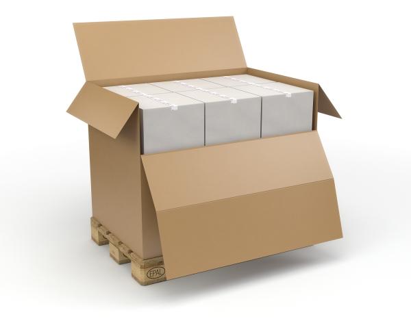Cajas contenedores con faldón y tapa - Cajas de cartón